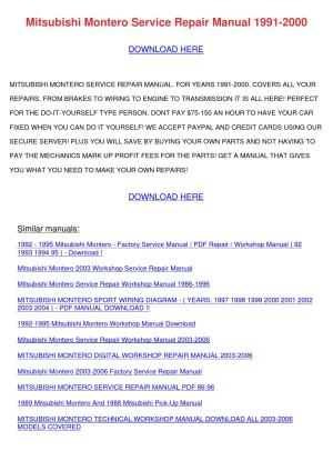 Mitsubishi Montero Service Repair Manual 1991 by