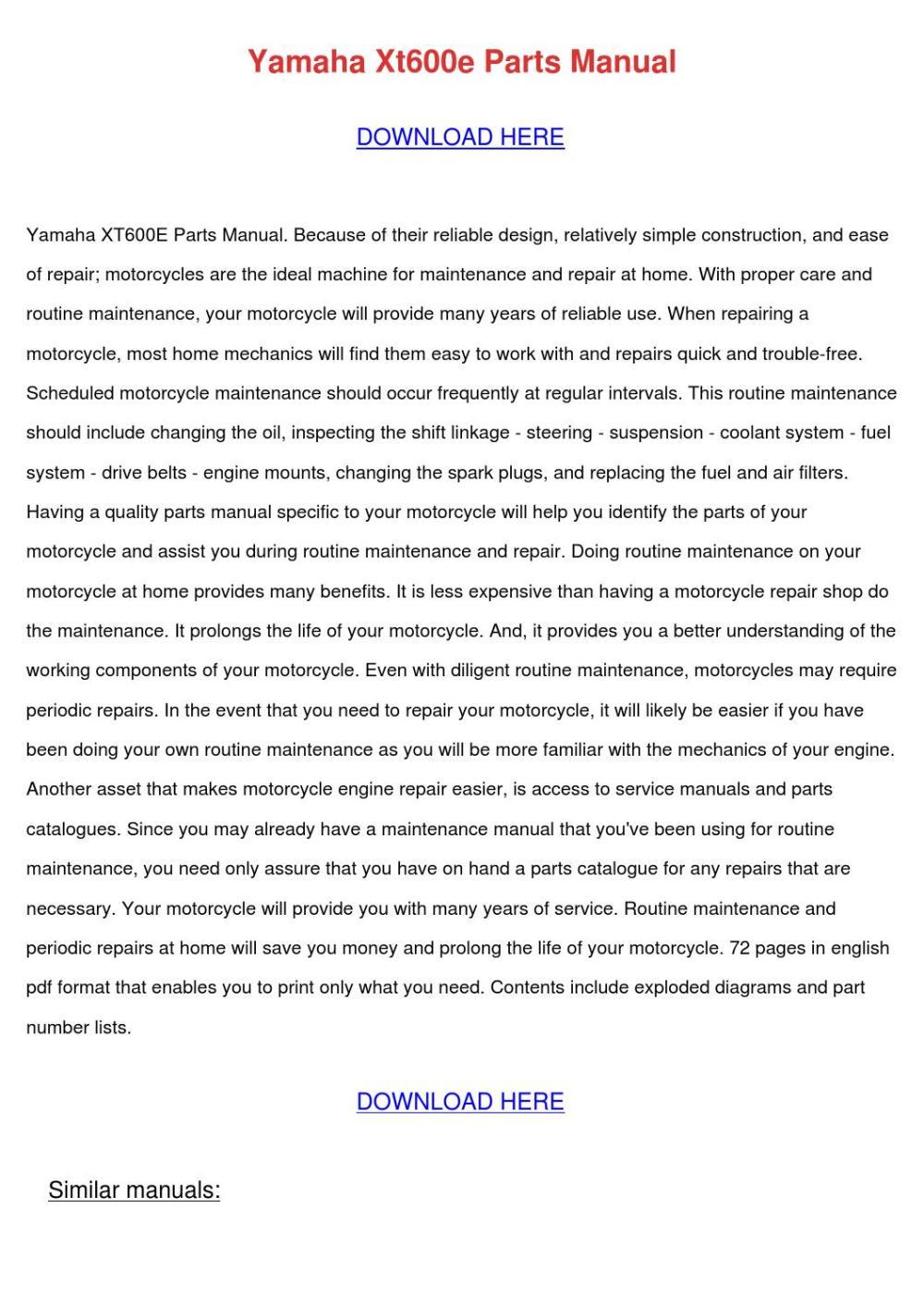 medium resolution of yamaha xt600e manuals