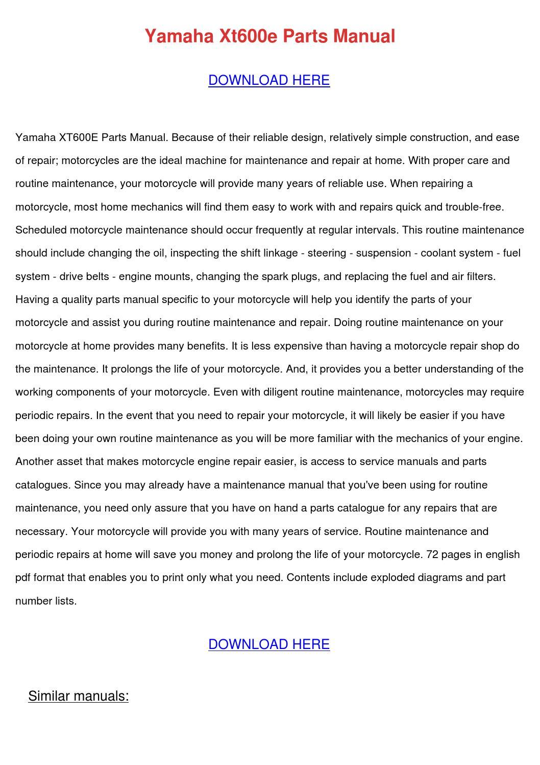 hight resolution of yamaha xt600e manuals