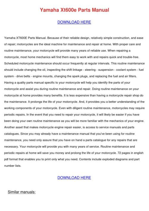 small resolution of yamaha xt600e manuals