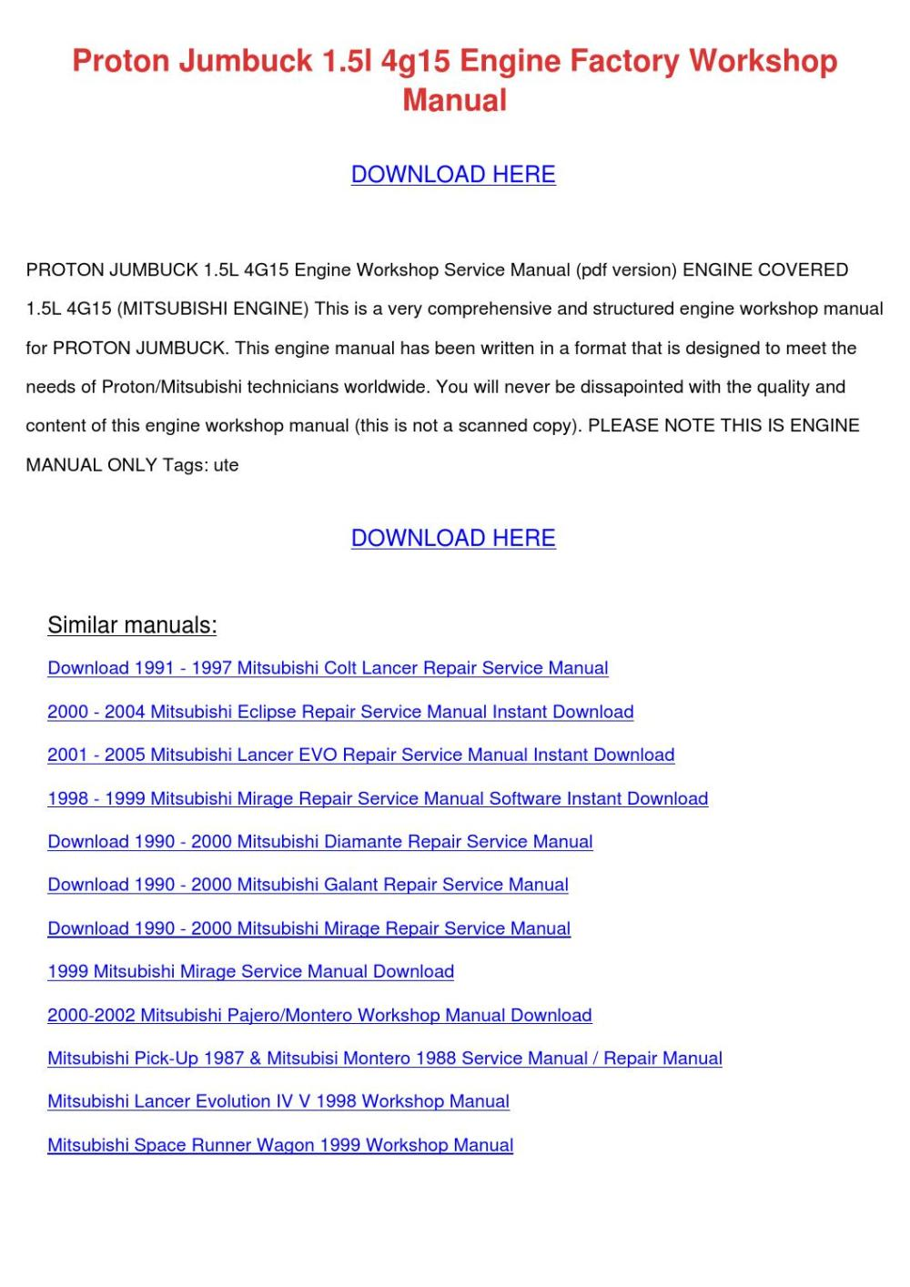 medium resolution of  page 1 proton jumbuck 15l 4g15 engine factory worksh by tommyscarbrough 4g15 wiring diagram at cita