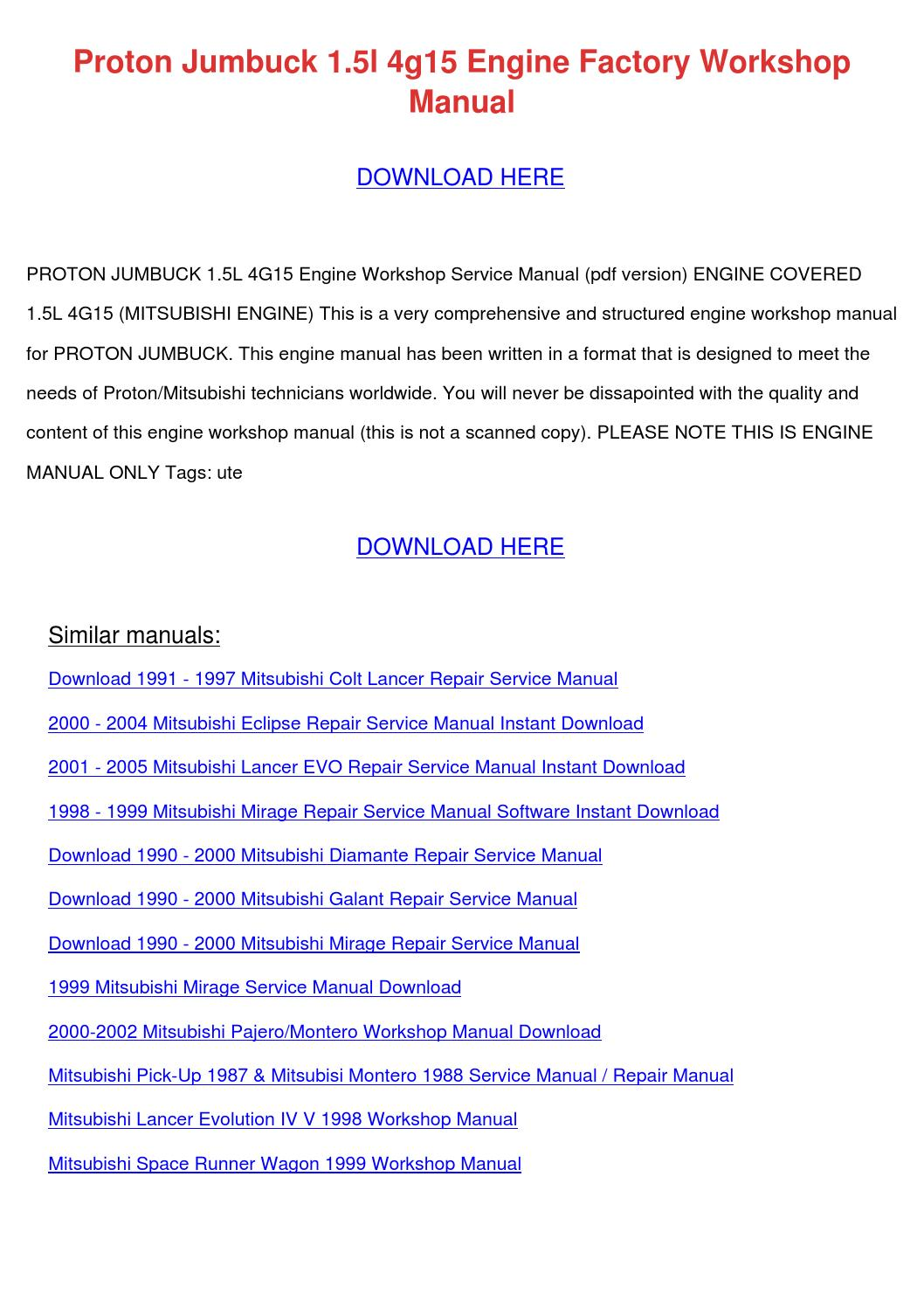 hight resolution of  page 1 proton jumbuck 15l 4g15 engine factory worksh by tommyscarbrough 4g15 wiring diagram at cita