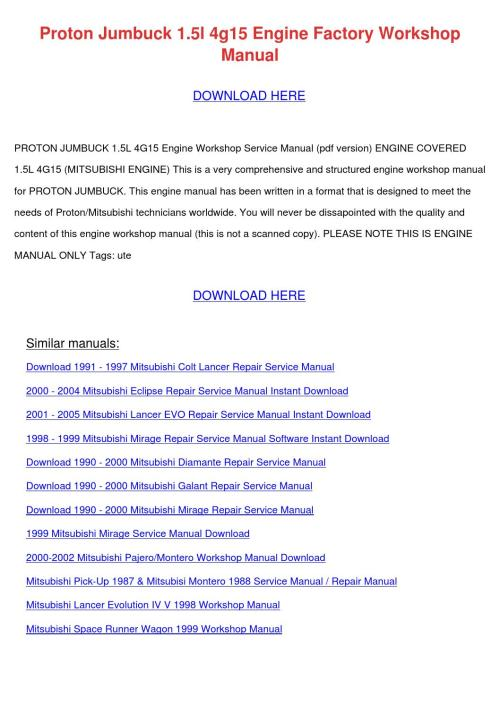 small resolution of  page 1 proton jumbuck 15l 4g15 engine factory worksh by tommyscarbrough 4g15 wiring diagram at cita
