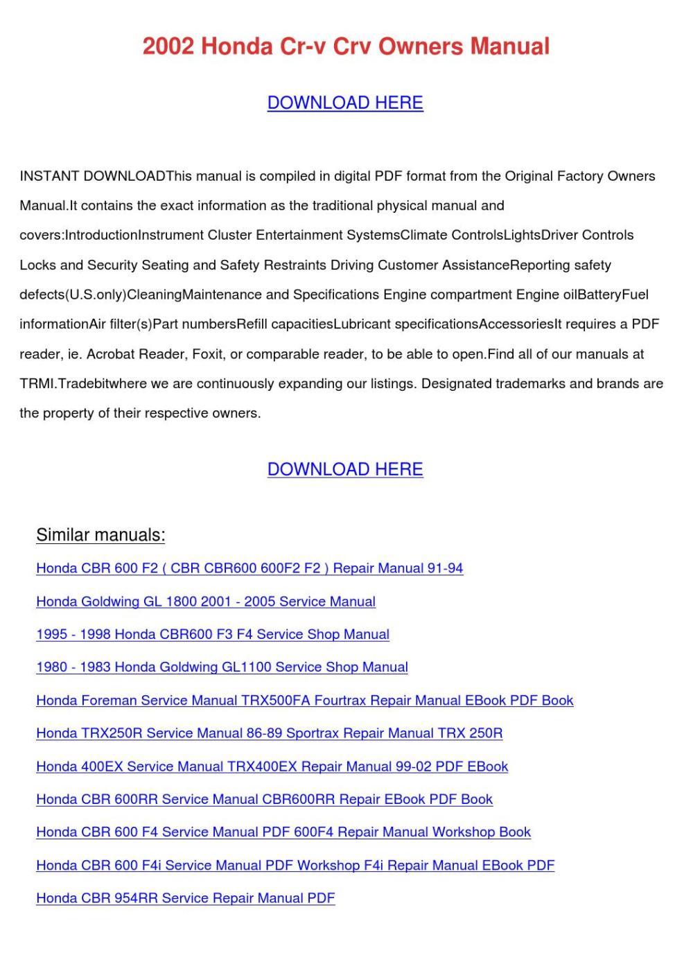 medium resolution of array 2002 honda cr v crv owners manual by dawnachaves issuu rh