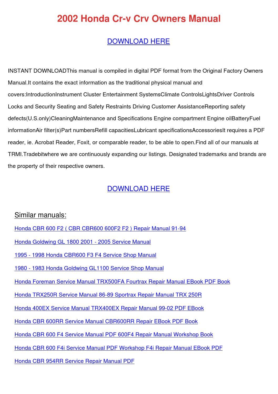 hight resolution of array 2002 honda cr v crv owners manual by dawnachaves issuu rh