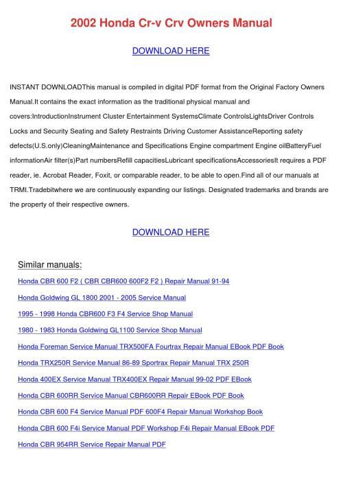 small resolution of array 2002 honda cr v crv owners manual by dawnachaves issuu rh