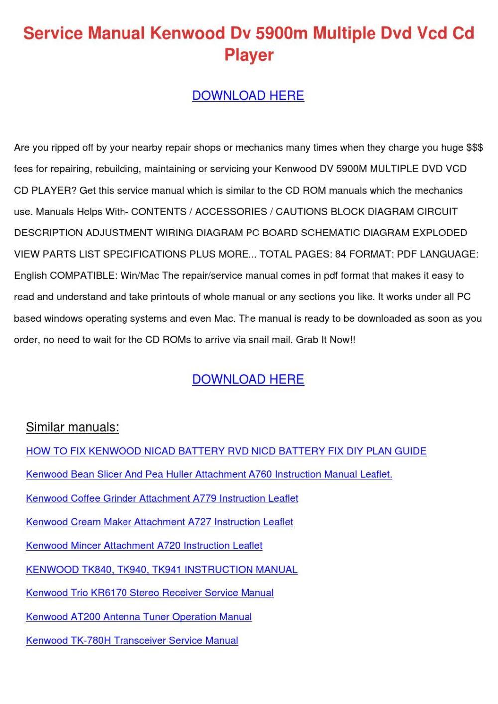 medium resolution of service manual kenwood dv 5900m multiple dvd