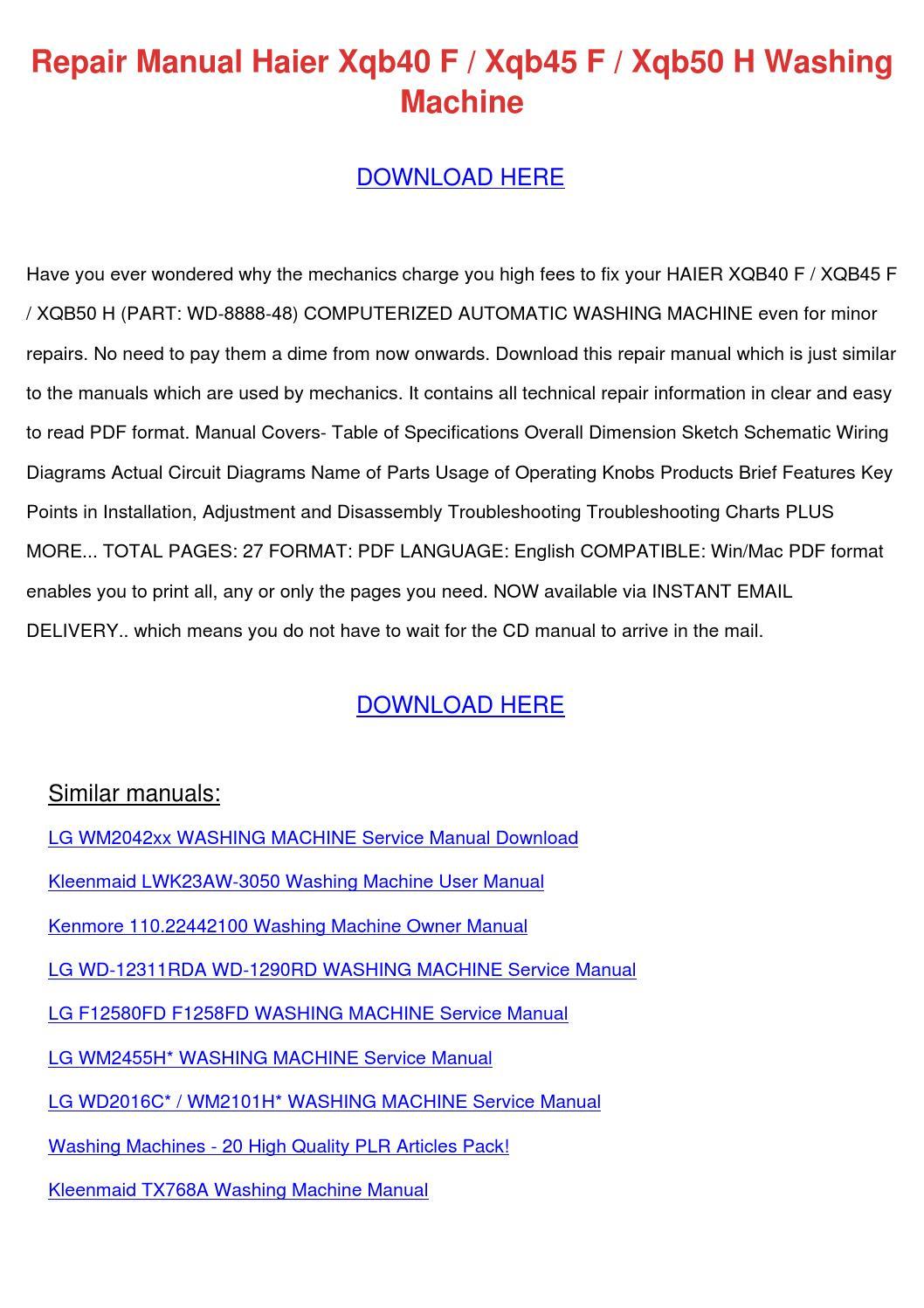 hight resolution of repair manual haier xqb40 f xqb45 f xqb50 h w