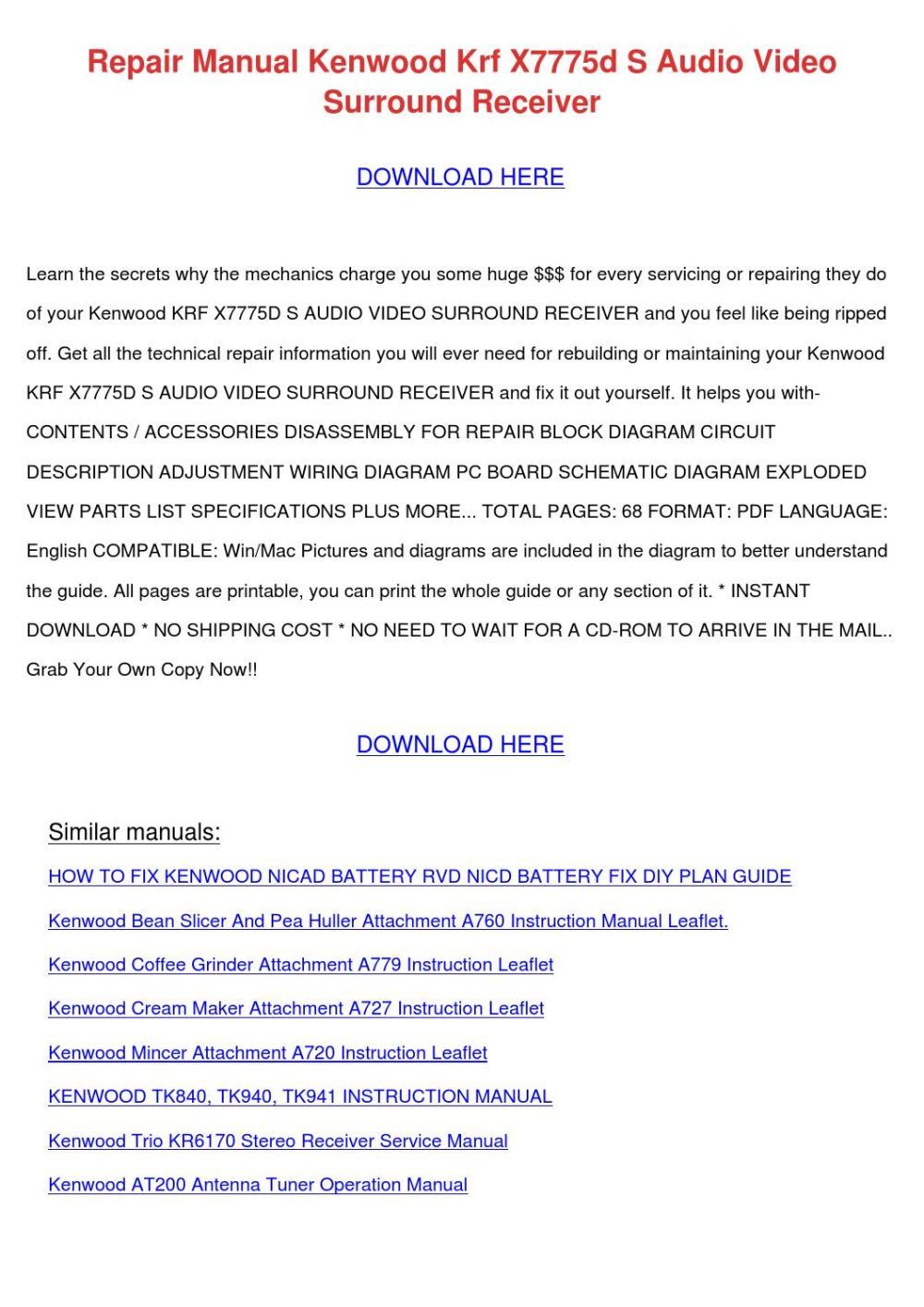 medium resolution of repair manual kenwood krf x7775d s audio vide by rafaelmontgomery issuu