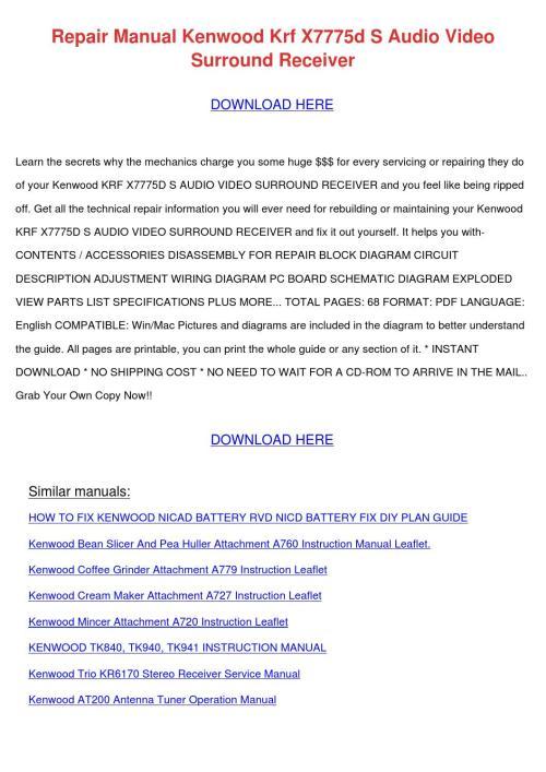 small resolution of repair manual kenwood krf x7775d s audio vide by rafaelmontgomery issuu