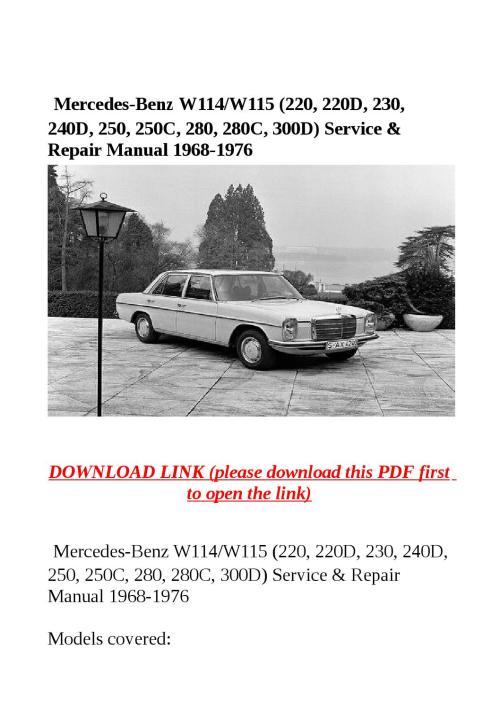 small resolution of w115 wiring diagram little wiring diagramsmercedes benz w114 w115 220 220d 230