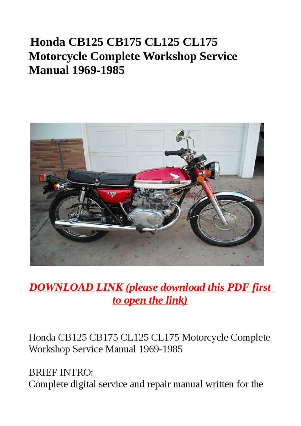 medium resolution of honda cb125 cb175 cl125 cl175 motorcycle complete workshop service manual 1969 1985
