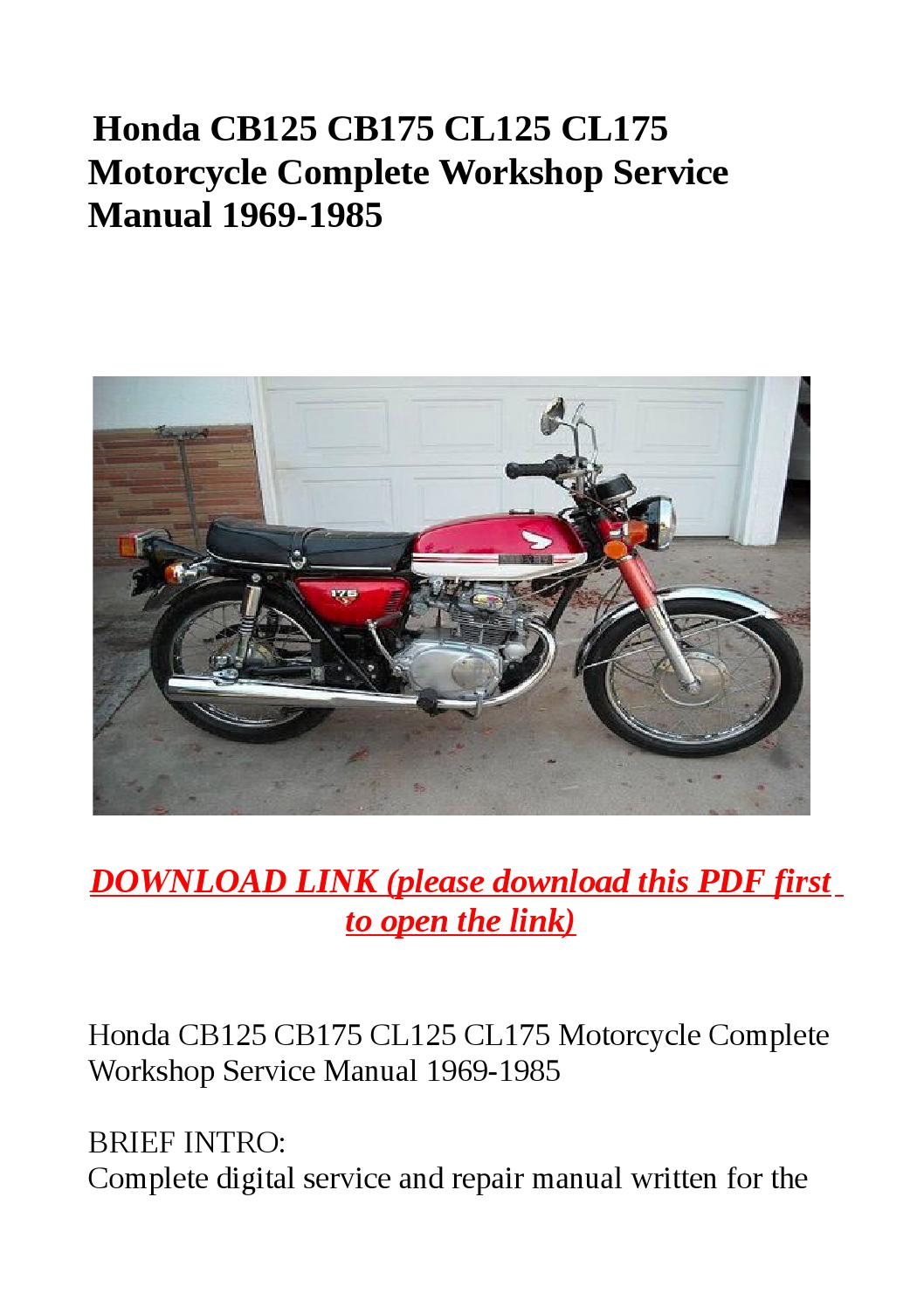 hight resolution of honda cb125 cb175 cl125 cl175 motorcycle complete workshop service manual 1969 1985