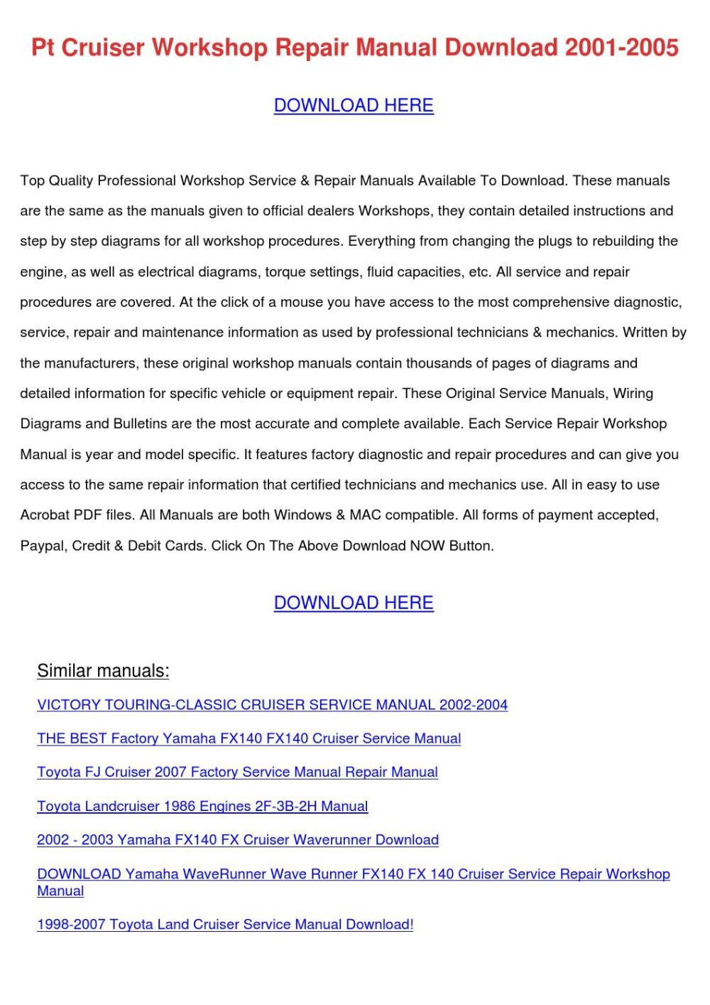 medium resolution of pt cruiser workshop repair manual download 20
