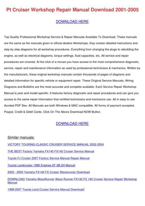 small resolution of pt cruiser workshop repair manual download 20