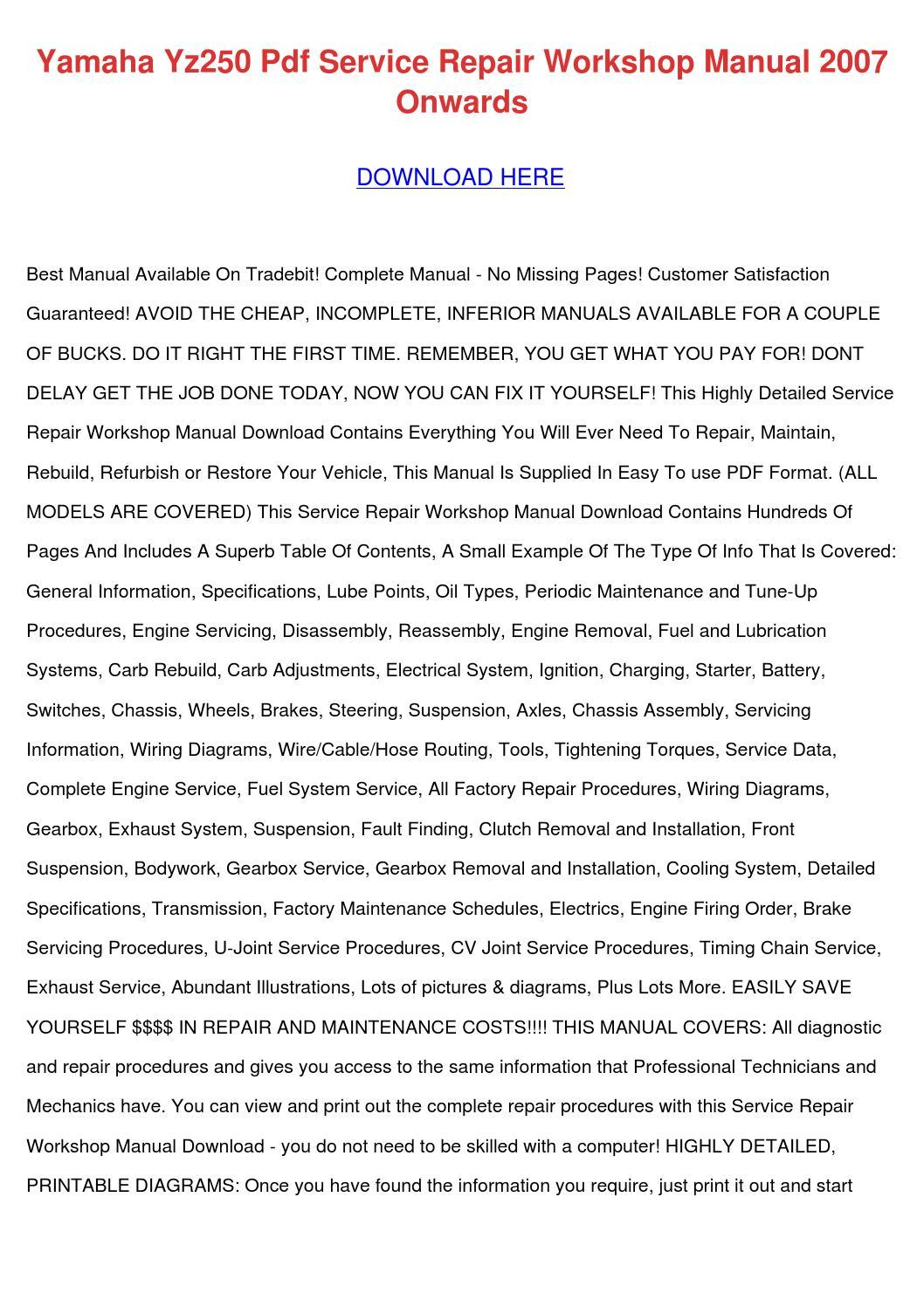 hight resolution of yamaha yz250 pdf service repair workshop manu by jocelynheard issuuyamaha yz250 pdf service repair workshop manu