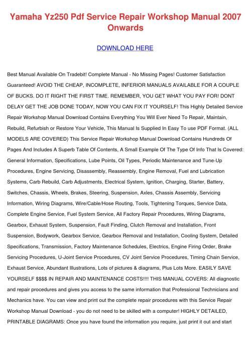 small resolution of yamaha yz250 pdf service repair workshop manu by jocelynheard issuuyamaha yz250 pdf service repair workshop manu