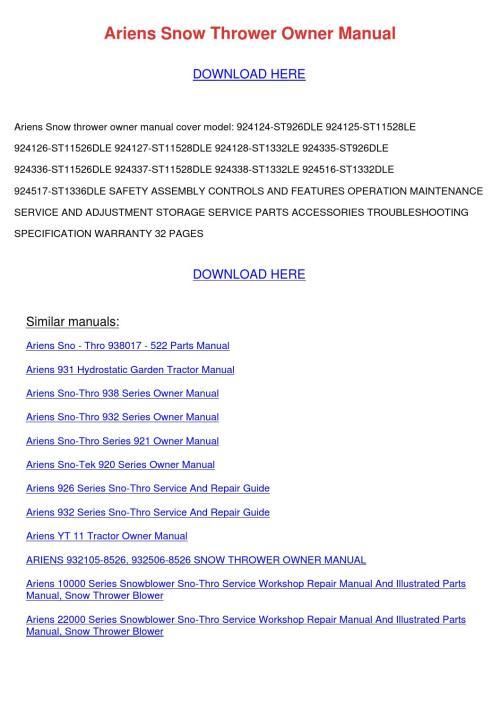 small resolution of  zlrsjmgxbdtucepvsj 9blhi7qae7vaeyoweq array ariens snow thrower owner manual rh issuu