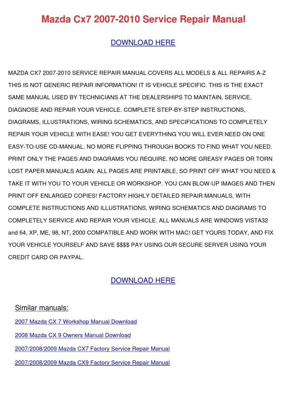 medium resolution of mazda cx7 2007 2010 service repair manual by shonarousseau issuu