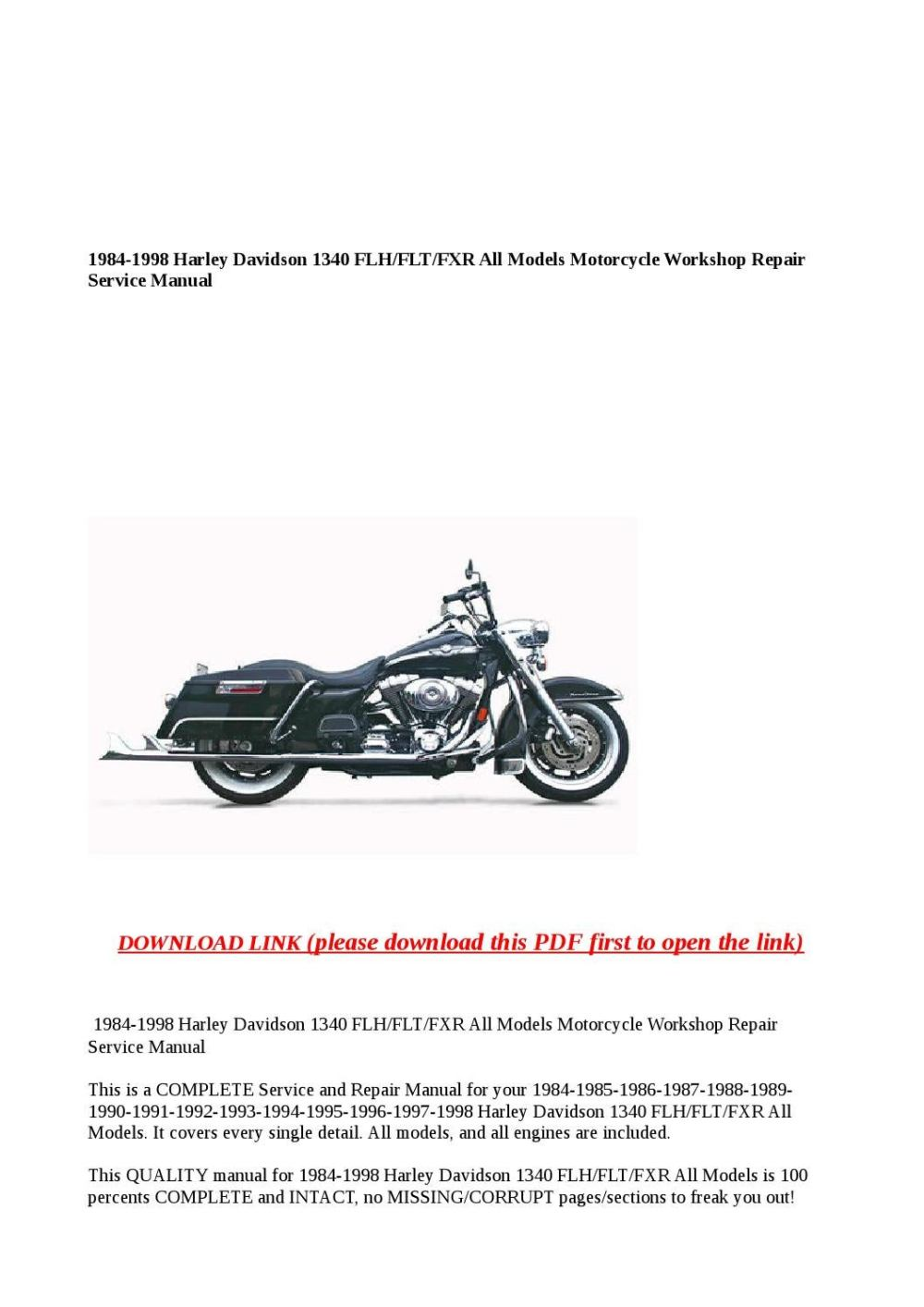 medium resolution of 1984 1998 harley davidson 1340 flh flt fxr all models motorcycle workshop repair service manual by