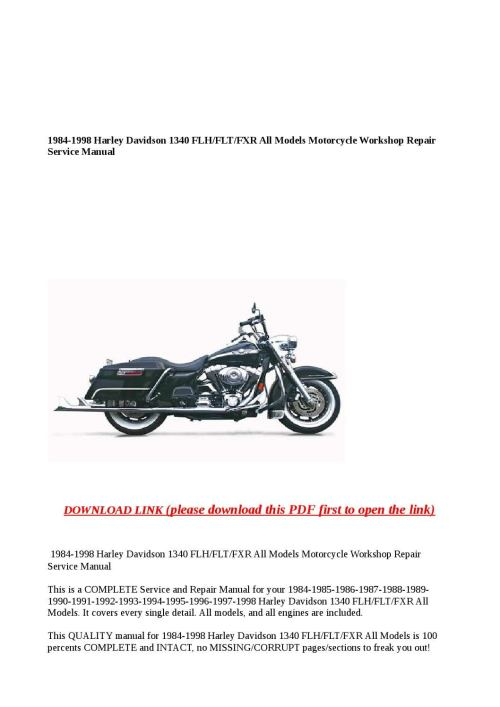 small resolution of 1984 1998 harley davidson 1340 flh flt fxr all models motorcycle workshop repair service manual by