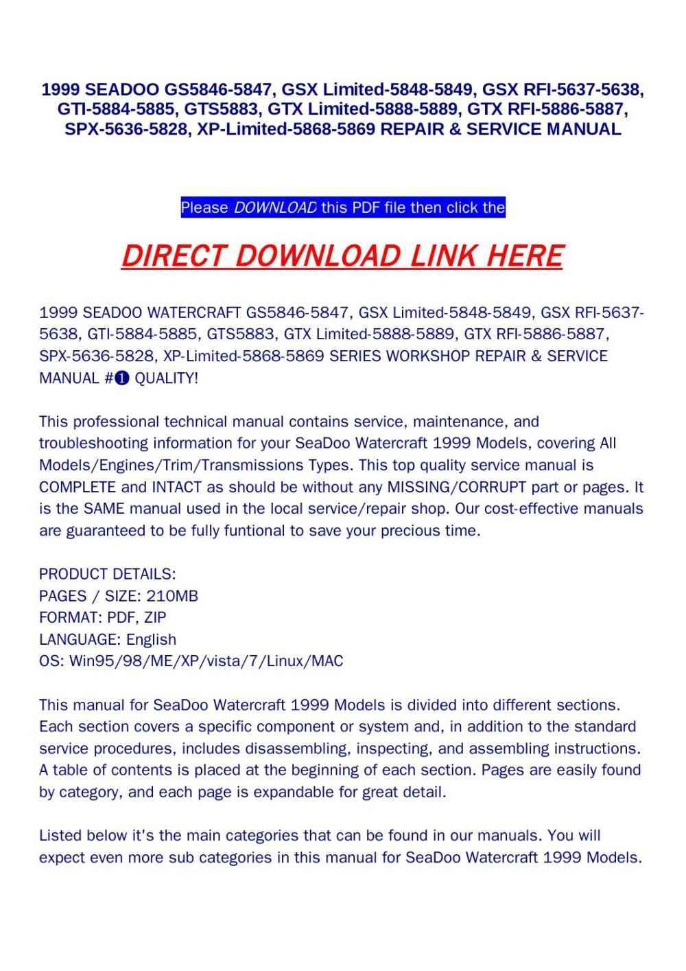 medium resolution of 1999 seadoo gs5846 5847 gsx limited 5848 5849 spx 5636 5828 xp limited 5868 5869 repair service
