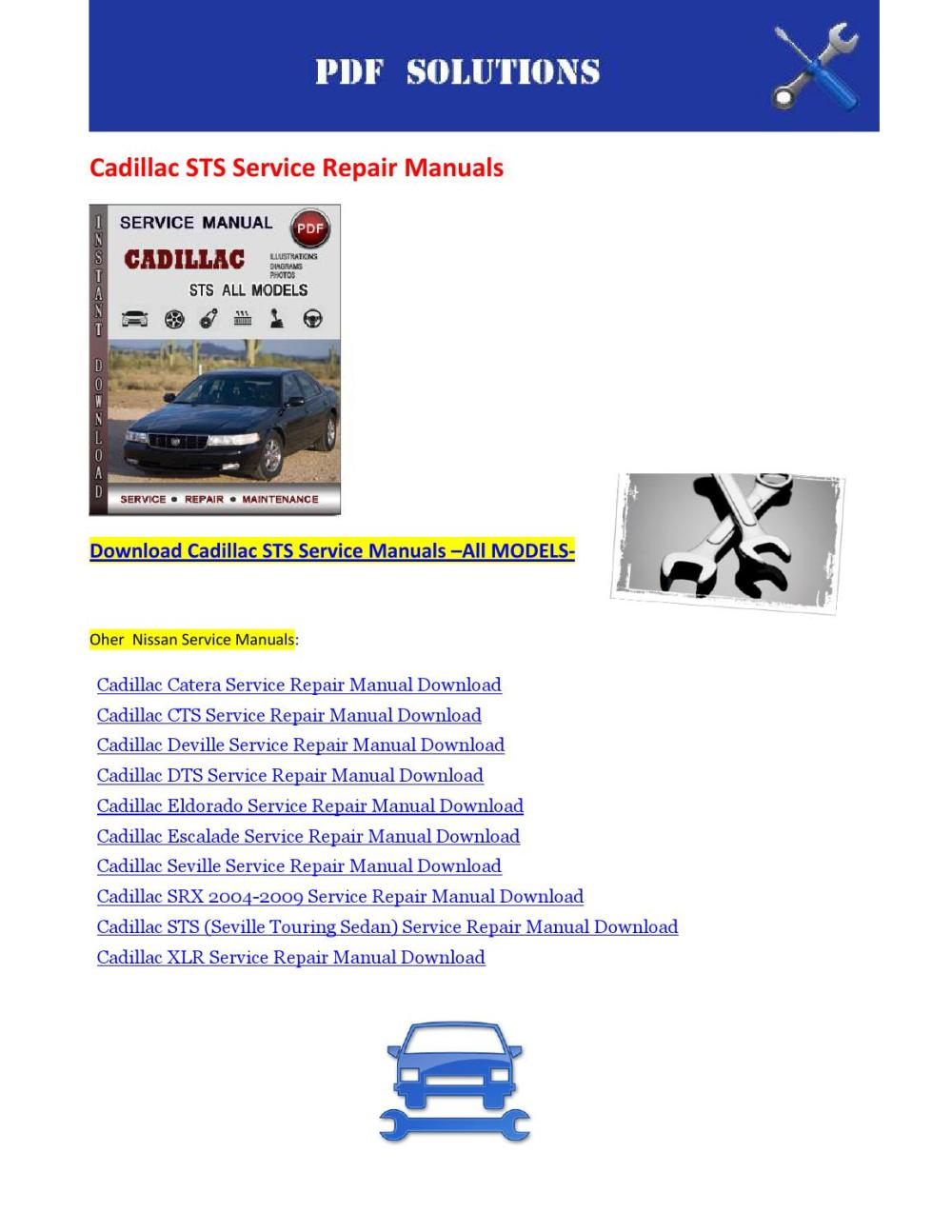 medium resolution of cadillac dts and workshop service repair manual