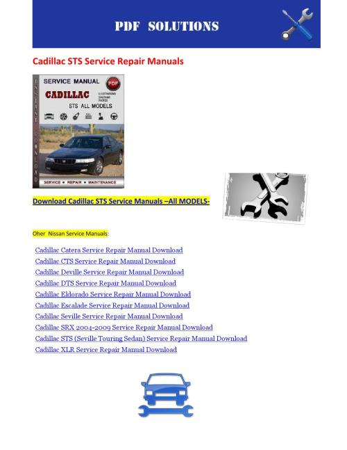 small resolution of cadillac dts and workshop service repair manual