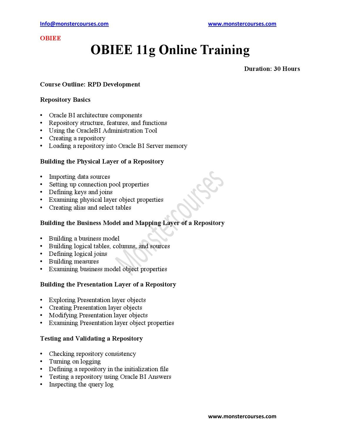 Obiee 11g Developer Resume Obiee Online Training By Monstercourses Issuu