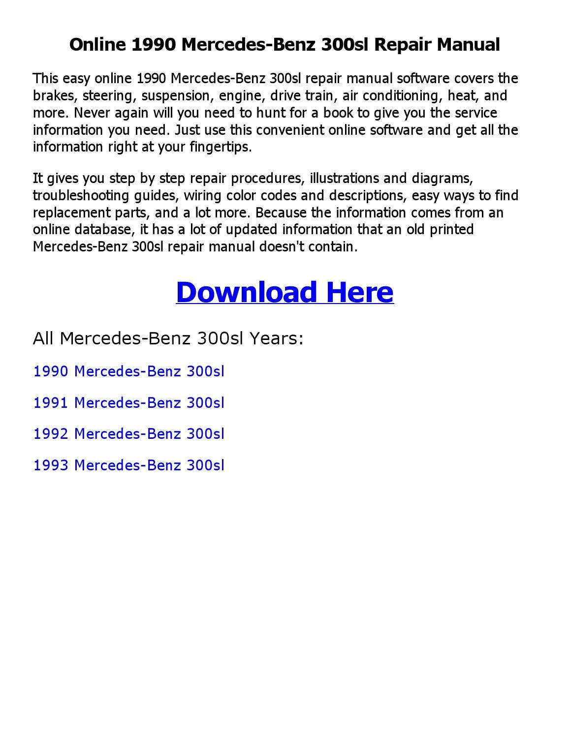 hight resolution of 1990 mercedes benz 300sl repair manual online