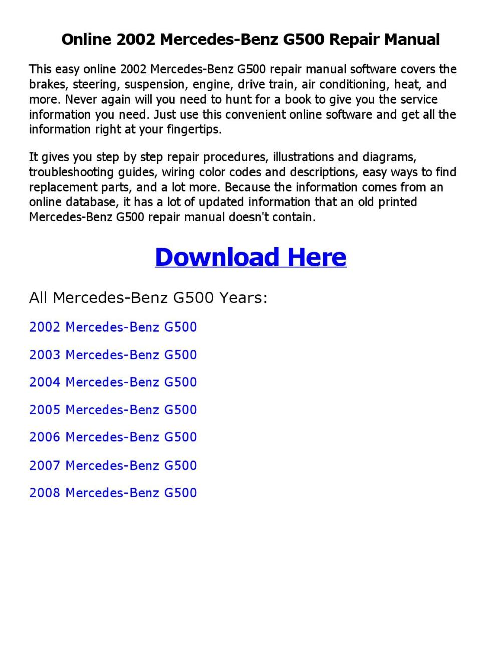 medium resolution of 2002 mercedes benz g500 repair manual online
