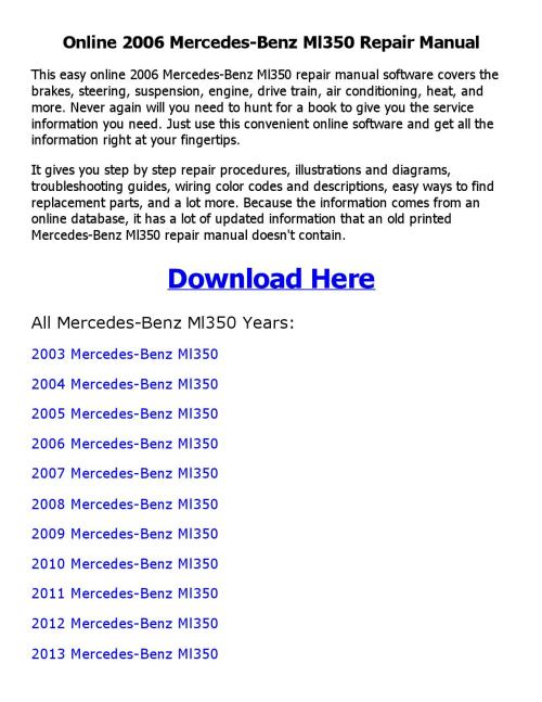 small resolution of 2006 mercedes benz ml350 repair manual online by coollang issuu