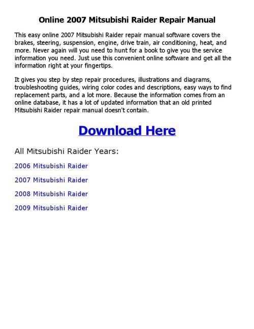 small resolution of 2007 mitsubishi raider repair manual online by emran ahmed issuu