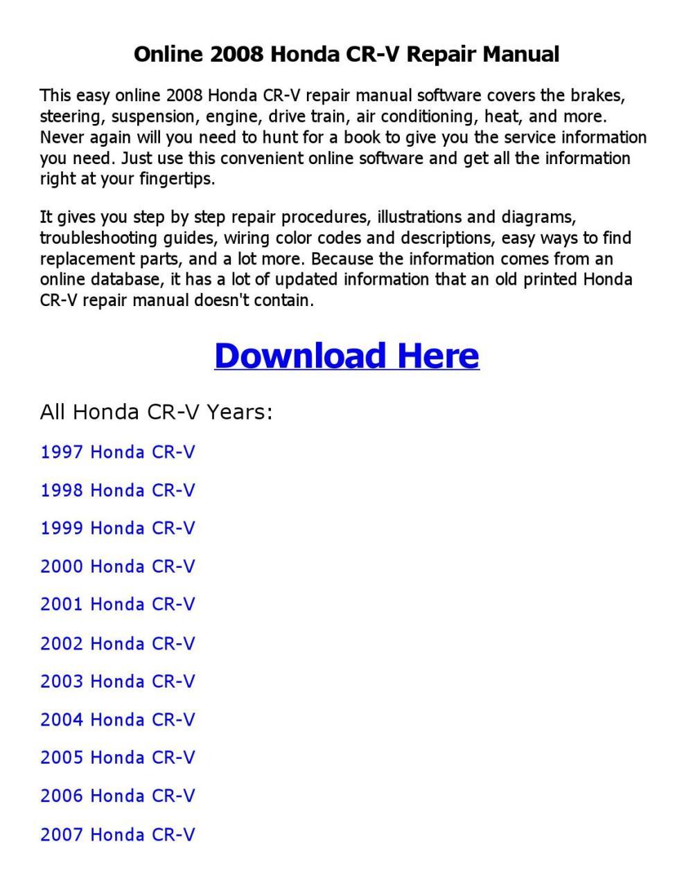 medium resolution of 2008 honda cr v repair manual online