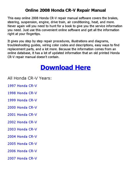 small resolution of 2008 honda cr v repair manual online
