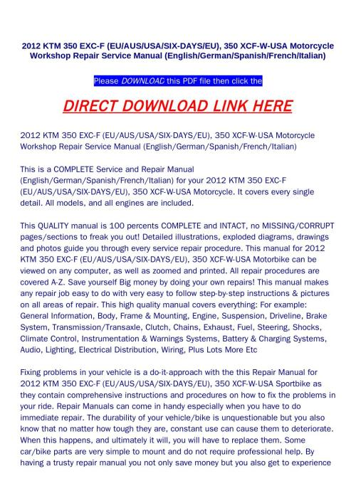 small resolution of 2012 ktm 350 exc f eu aus usa six days eu 350 xcf