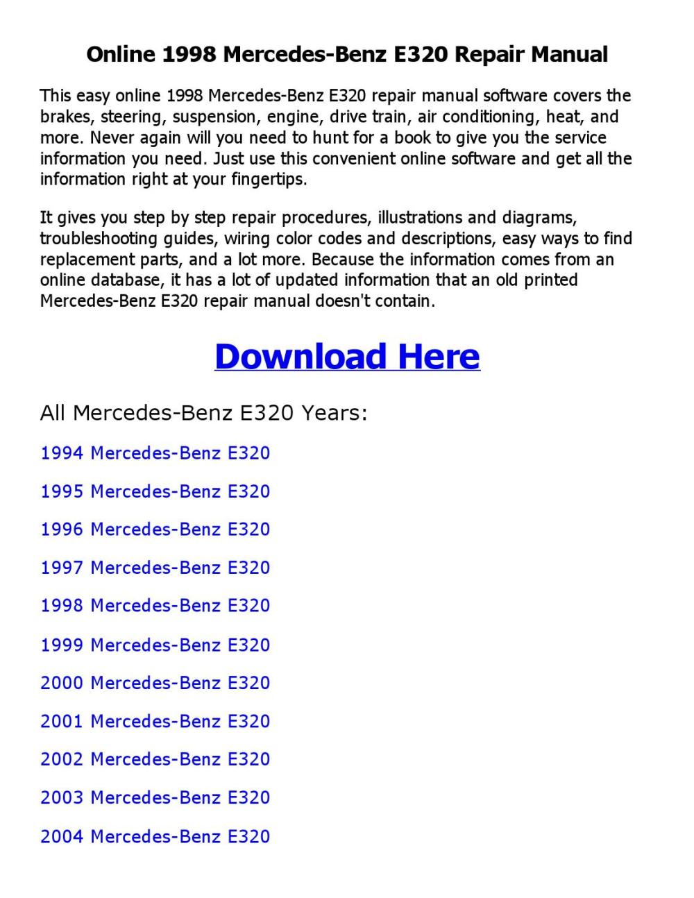 medium resolution of 1998 mercedes benz e320 repair manual online by mhraihan issuu
