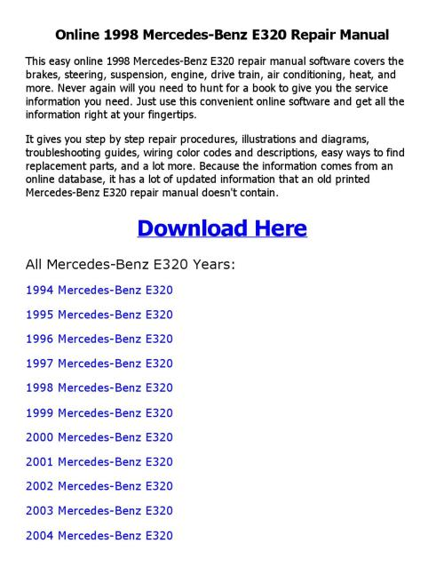 small resolution of 1998 mercedes benz e320 repair manual online by mhraihan issuu