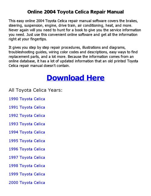 small resolution of 1999 toyotum celica engine diagram