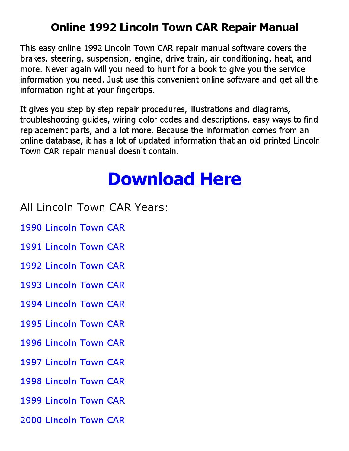hight resolution of 1992 lincoln town car repair manual online