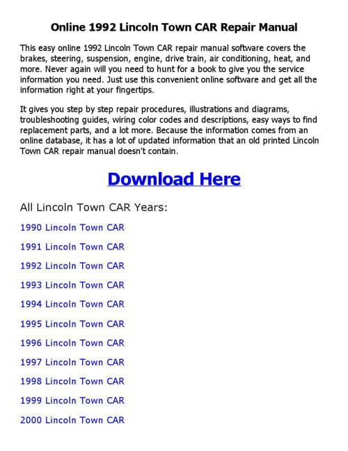small resolution of 1992 lincoln town car repair manual online
