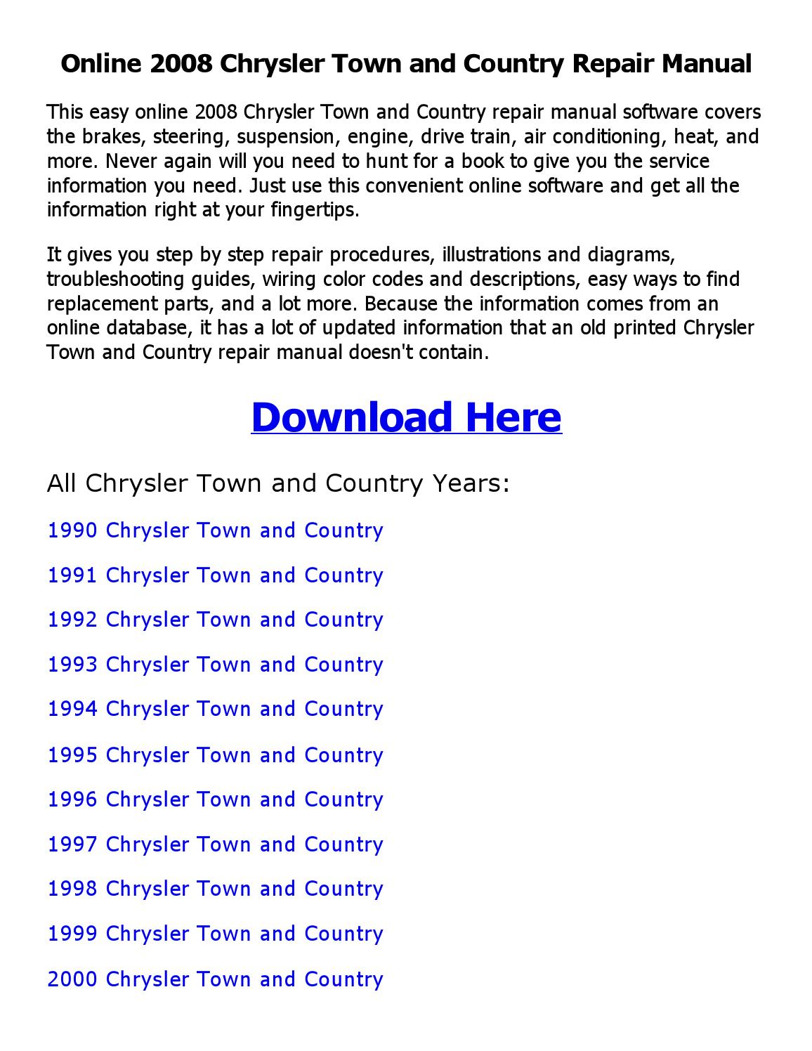 hight resolution of 2008 chrysler town and country repair manual online