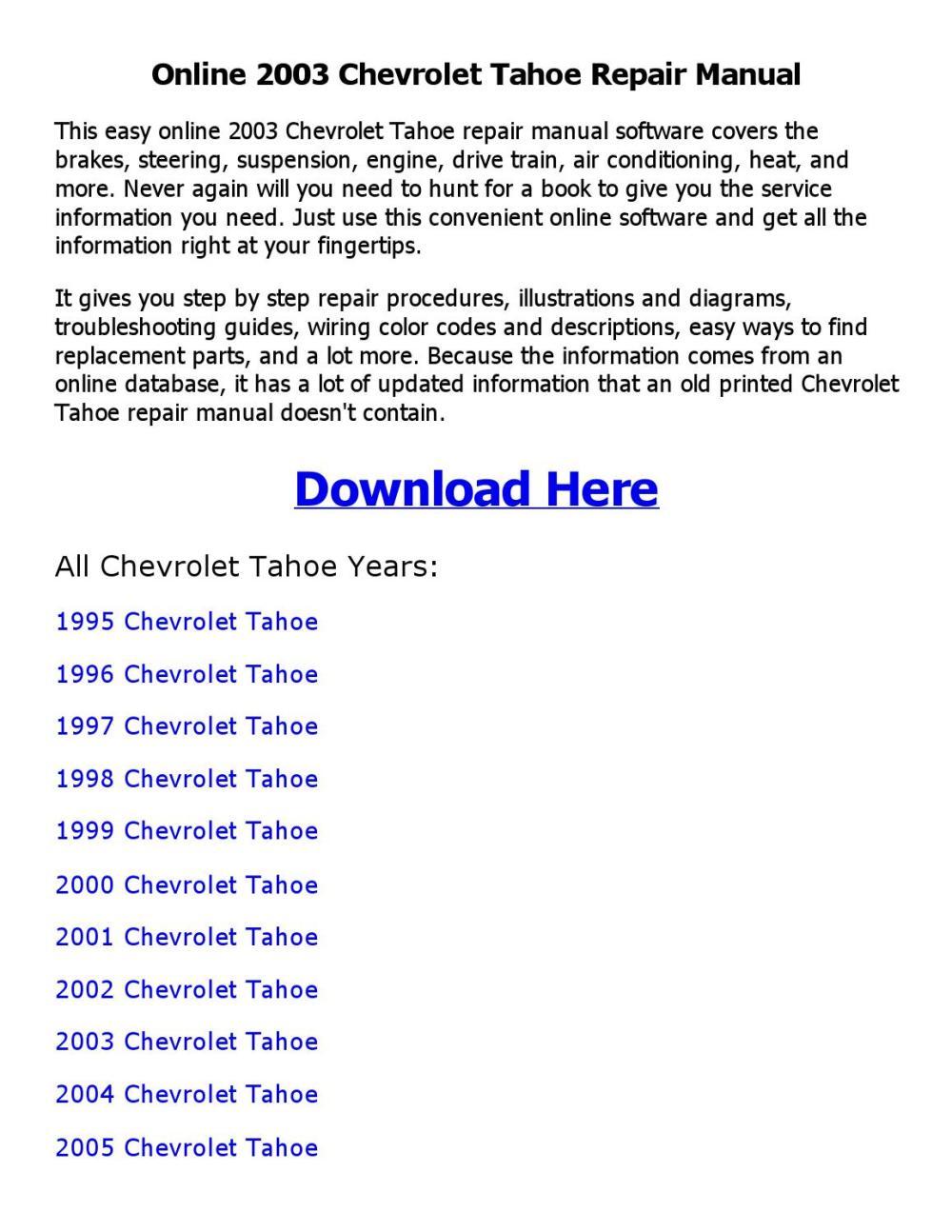 medium resolution of 2003 chevrolet tahoe repair manual online