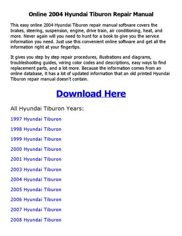 2004 hyundai tiburon repair manual online by nkouedjo - issuu - 1997 hyundai  tiburon engine diagram