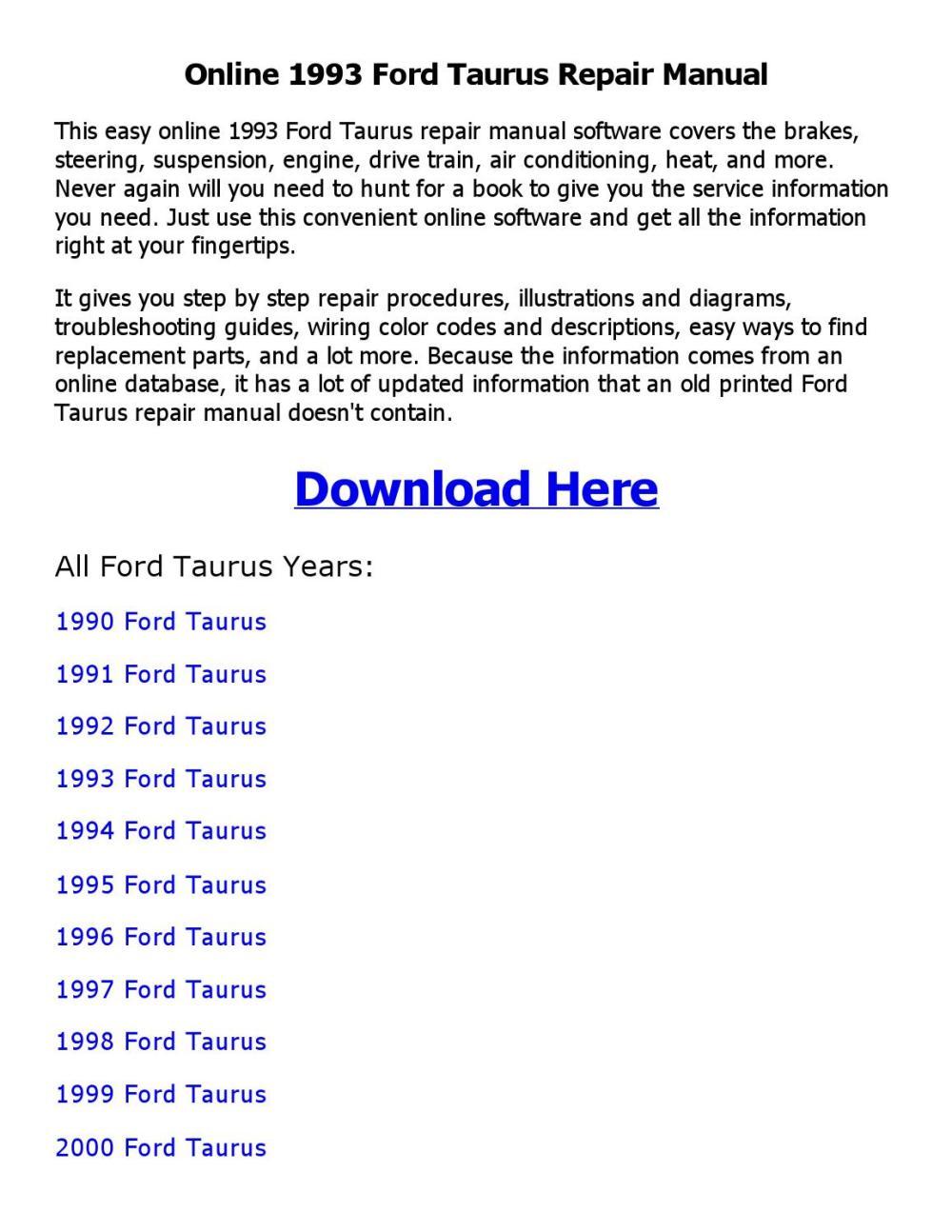 medium resolution of 1993 ford taurus repair manual online