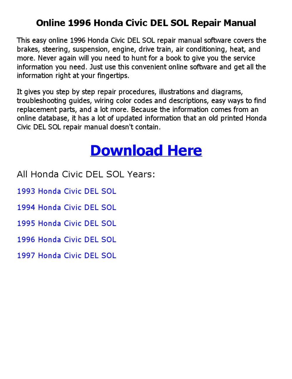 medium resolution of 1994 honda del sol service manual