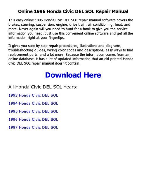 small resolution of 1994 honda del sol service manual