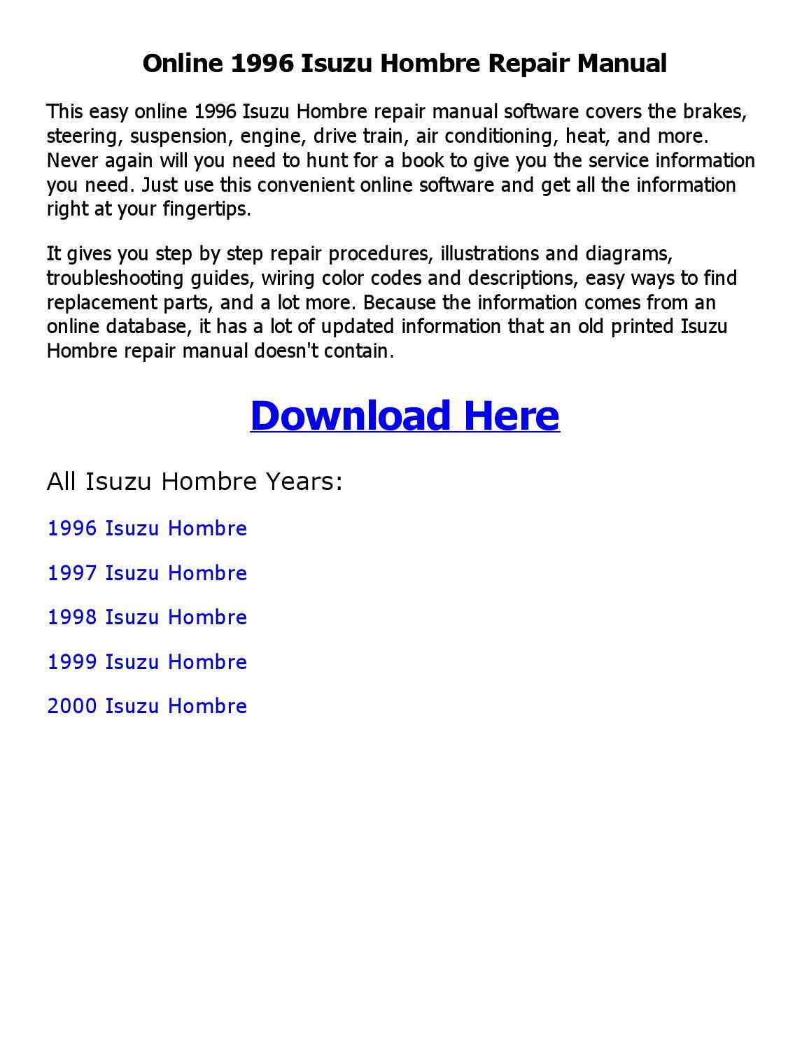 hight resolution of 1996 isuzu hombre wiring diagram