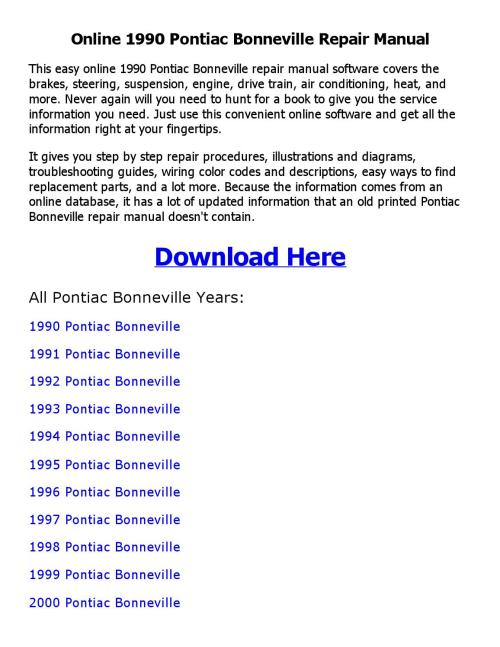 small resolution of 1990 pontiac bonneville wiring diagram
