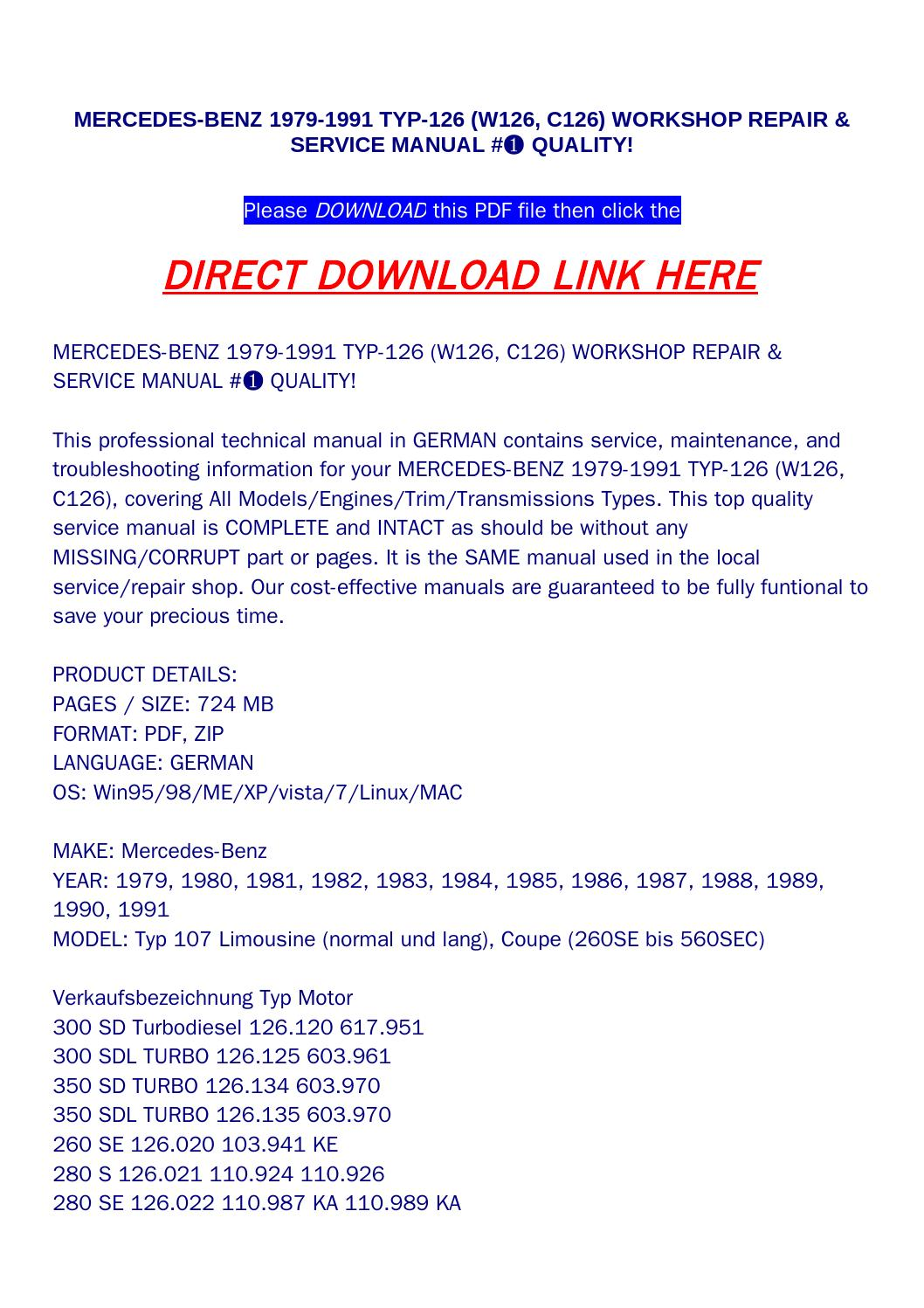 hight resolution of mercedes benz 1979 1991 typ 126 w126 c126 workshop repair service manual quality